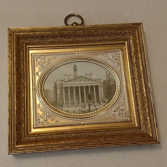Vintage framed gold embossed print